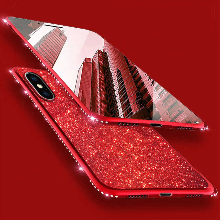 Diamond Case On for iPhone XR 6 6S 7 8 Plus X XS MAX Huawei P20 P30 Mate 10 Lite Nova 3 Honor 7X 8X Cover Glitter Silicone Cases