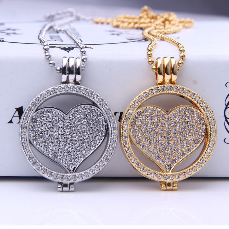 35mm mi Mi Moneda Pendants Locket necklace love Crystal Design Rhinestone Fit my 33mm dome Coins Disc 80cm chain Holiday Gifts