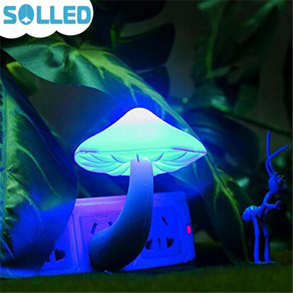 SOLLED Small LED Lava Lamps Portable Mushroom Night Light Bedside Wall Lamp Blue Light