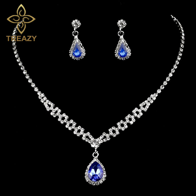 TREAZY Charm Royal Blue Crystal Teardrop Bridal Jewelry Sets Choker  Necklace Earrings Set for Women Wedding af3aa026b8e8