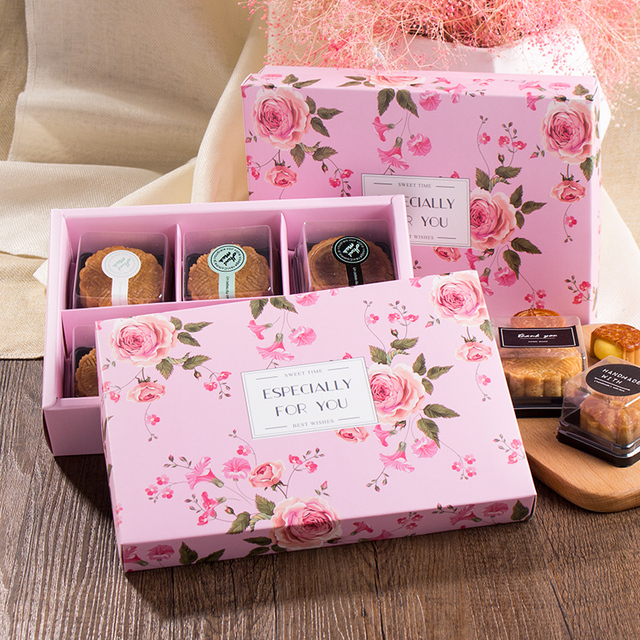 21.8*15*5cm 10pcs lady rose pink theme Cookie mooncake Gift Paper Box Macaron Chocolate Snacks Sweet Candy Packaging