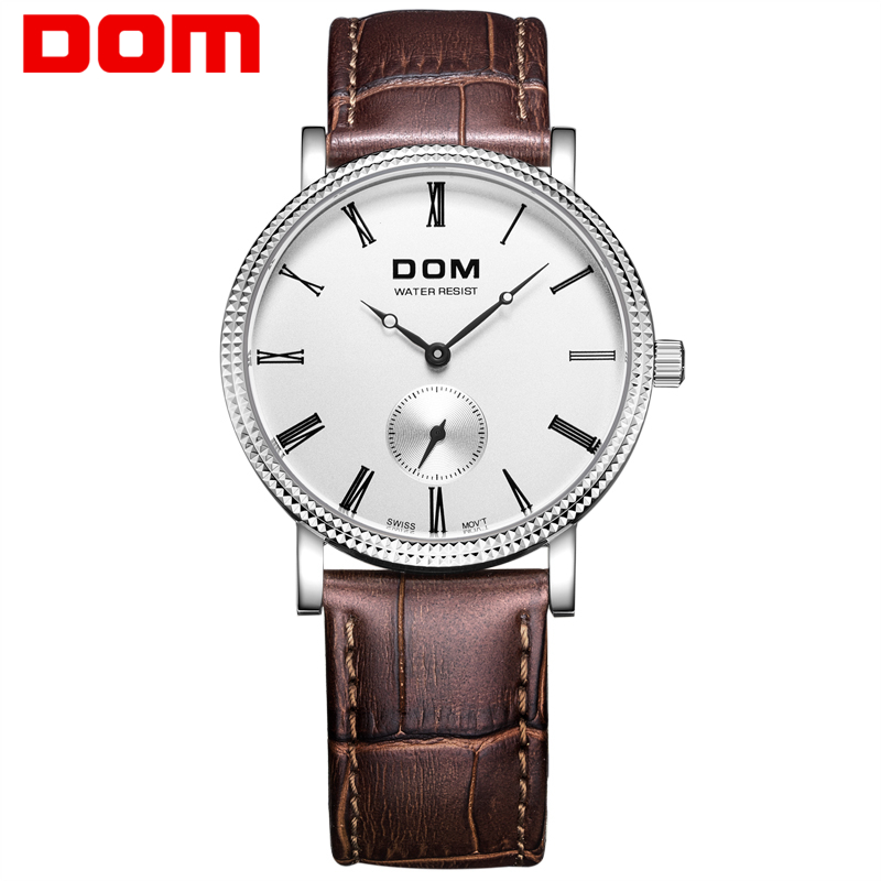 DOM  mens watches top brand luxury  waterproof quartz watch Business leather watch reloj hombre marca de lujo M-253