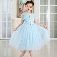 Kimocat Girls Lace Dress Children's Wedding Party Dress Infant branca de neve Girls Clothes 8 Years Lace Knee-Length frozen