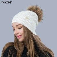 YHKGG Fashion Natural Raccoon Fur Fox Fur Pom Poms Hat Knitted Beanies Hemp Pattern Casual Cap