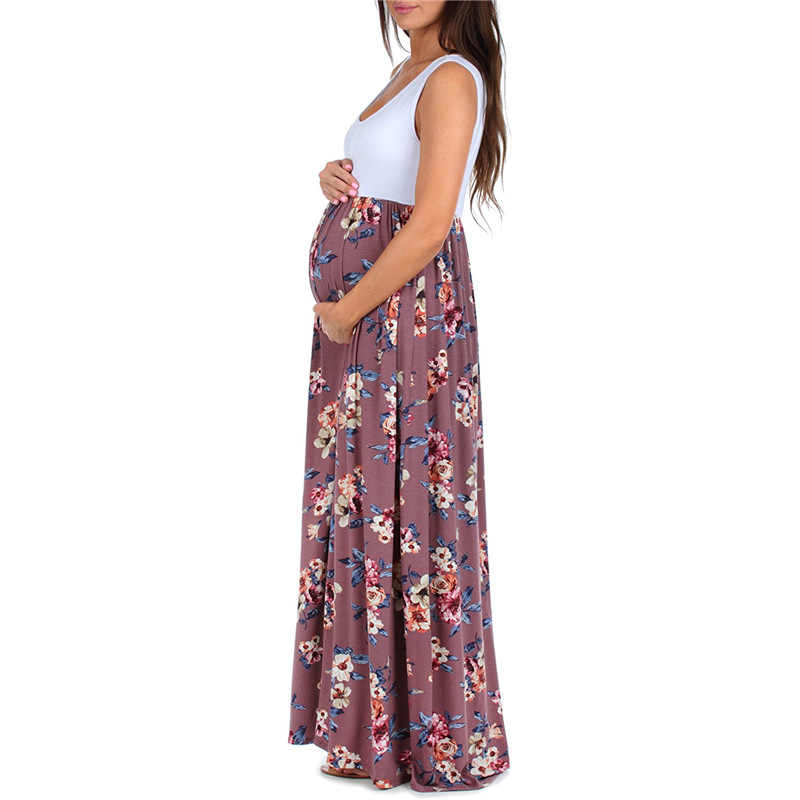 9a327ffbe8520 babzapleume Maternity Summer Long Dress For Pregnant Women Clothes Flowers  Sleeveless Plus Size Pregnancy Party Dresses BC1721