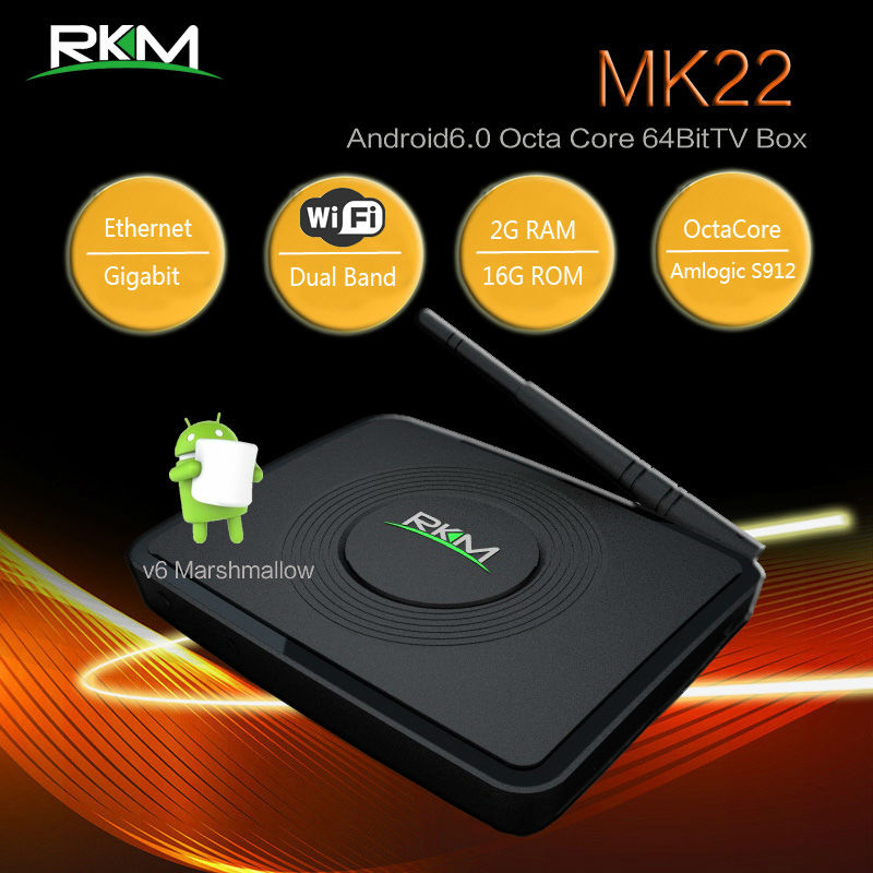 RKM MK22 Amlogic S912 Octa core 64bit 4K TV BOX ,Android 6.0 OS,2G RAM,16G ROM,Dual band wifi,Gbit LAN,Bluetooth[MK22]