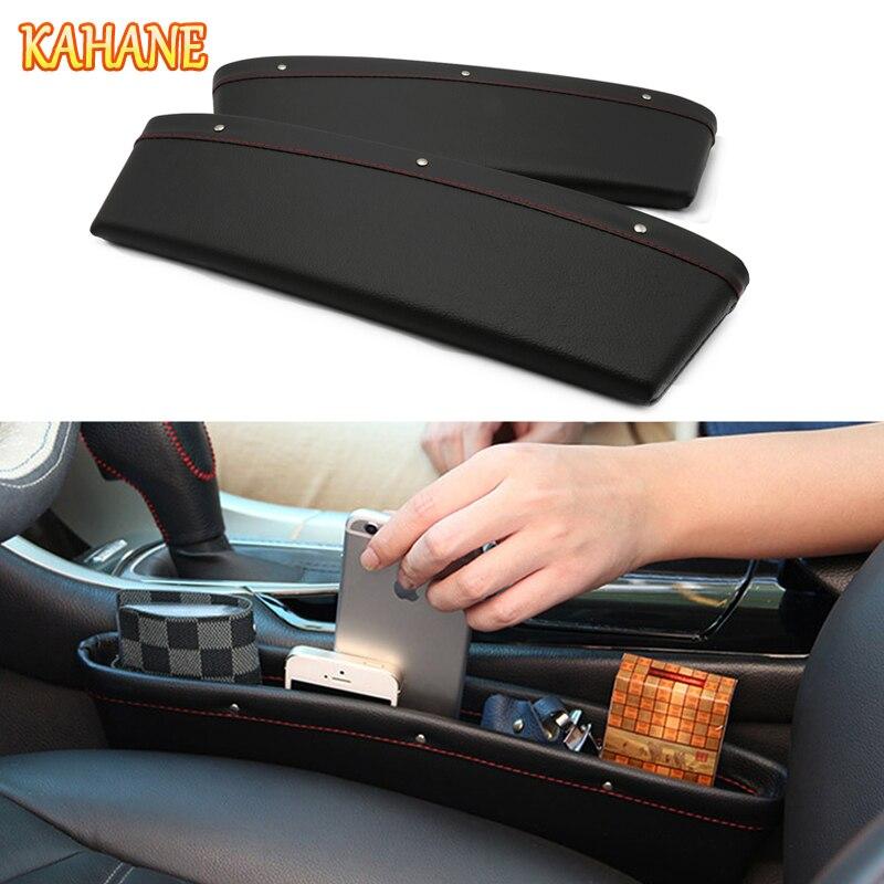 KAHANE 2x PU Leather Car Seat Slit Gap Box Pocket Storage Glove Box For Toyota CHR RAV4 Avensis Corolla Yaris Volvo S60 V40 CX90