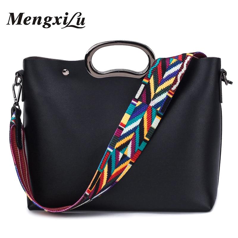 MENGXILU Fashion Women Composite Bag Big Women Shoulder Bags High Quality PU Leather Women Handbags Colorful Strap Ladies Bag mengxilu high quality composite bag