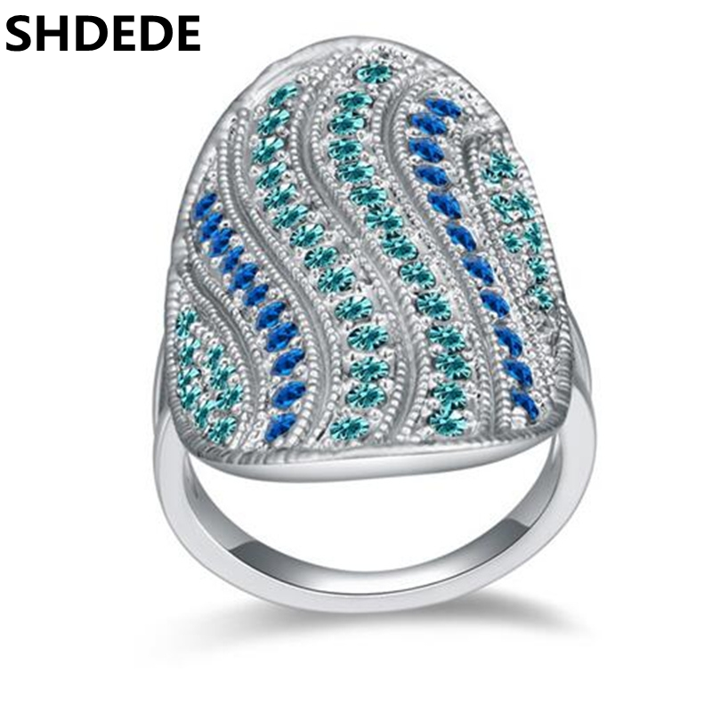 SHDEDE Genuine Austrian Crystal Rings Antique Wedding Engagement Ring Women Luxurious Banquet Party Jewelry *17546