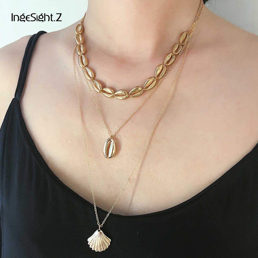 5f45947a57e22 IngeSight.Z 2Pcs/Set Bohemian Multi Layered Pearl Choker Necklace ...