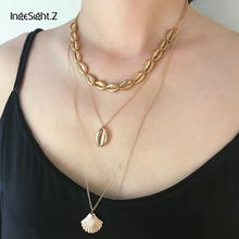 IngeSight.Z Bohemian Multi Layered Cowrie Shell Choker Necklace Collar Statement Alloy Scallop Pendant Women Jewelry