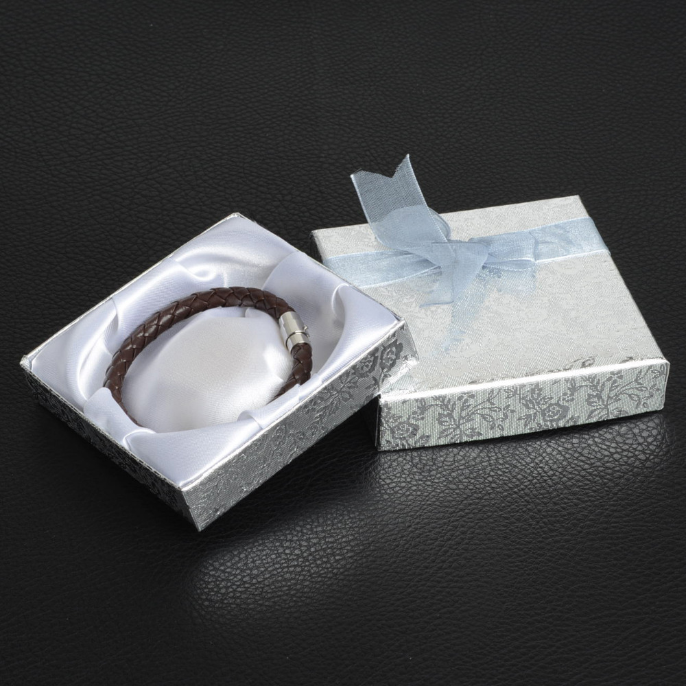 De Bijoux 18Pcs/lot 9*9Cm Silver Square Bow Paper Bracelet Bangle Wristwatch Jewelry Gift Box Paper Boxes With Ribbon Favor Box