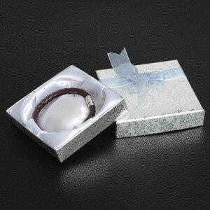 Image 1 - De Bijoux 18Pcs/lot 9*9Cm Silver Square Bow Paper Bracelet Bangle Wristwatch Jewelry Gift Box Paper boxes with ribbon favor box