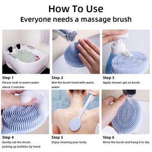 Image 5 - Silikon Bad Pinsel Ultra Weichen BPA Frei Körper Reinigung Pinsel Dusche Zurück Wäscher Tiefe Reinigung Langen Griff Massage pinsel