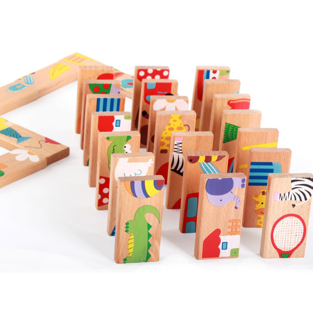 28Pcs Cute Animal Dominoes Wooden Puzzle Multi color Cartoon Montessori Educational Baby Toys Birthday Gifts Funny Kids Games