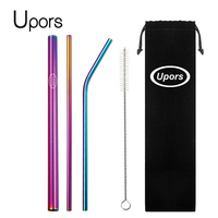 UPORS 5pcs Eco Friendly Reusable Straw 304 Stainless Steel Straw Metal Smoothies Drinking Straws Set with Brush & Bag Wholesale Drinking Straws     -