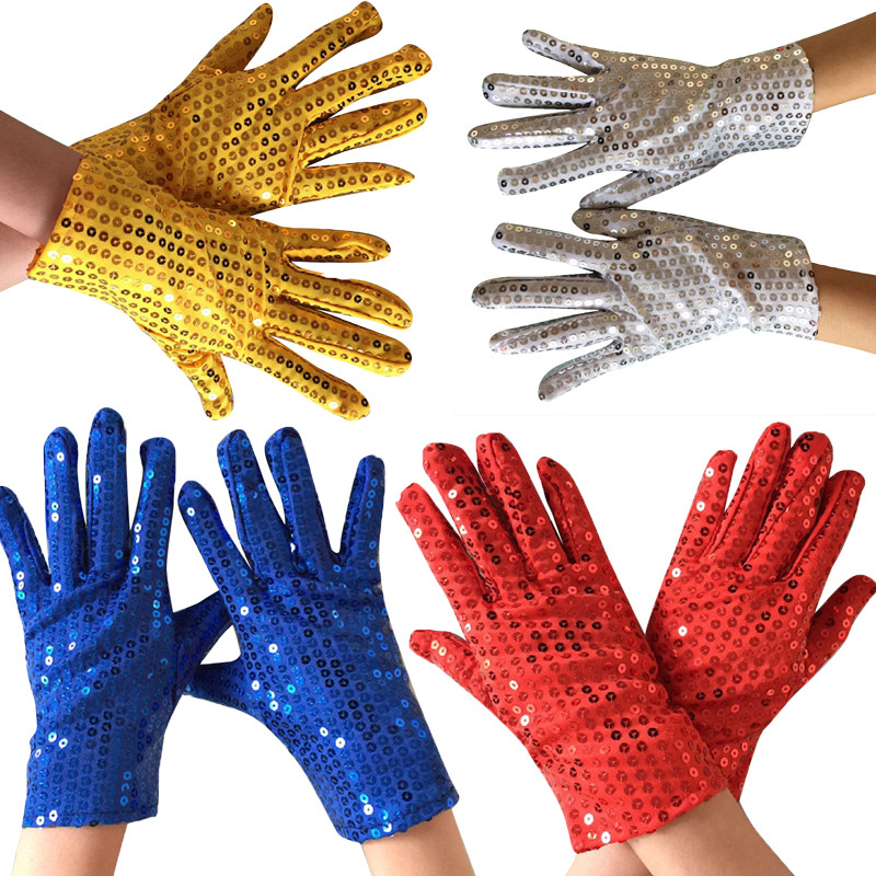 1 Pair Shining Sequin Sequined Glitter Gloves Dance Party Fancy Costume Gloves