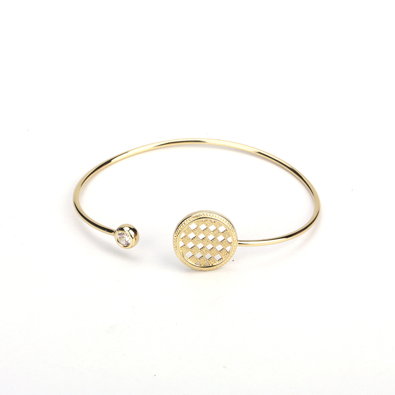 Stylish Pure Gold Color Cube Hollow Disc Round Bead Charm ...