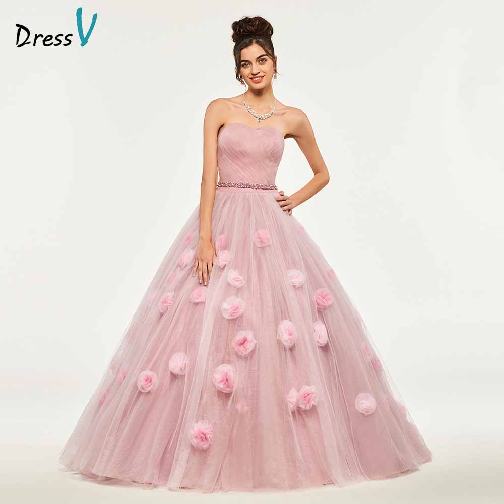 Dressv Ball Gown Beading Quinceanera Dresses Lace Up Princess Sleeveless Appliques Sweet 16 Dress Vestidos De Debutante 15 Anos