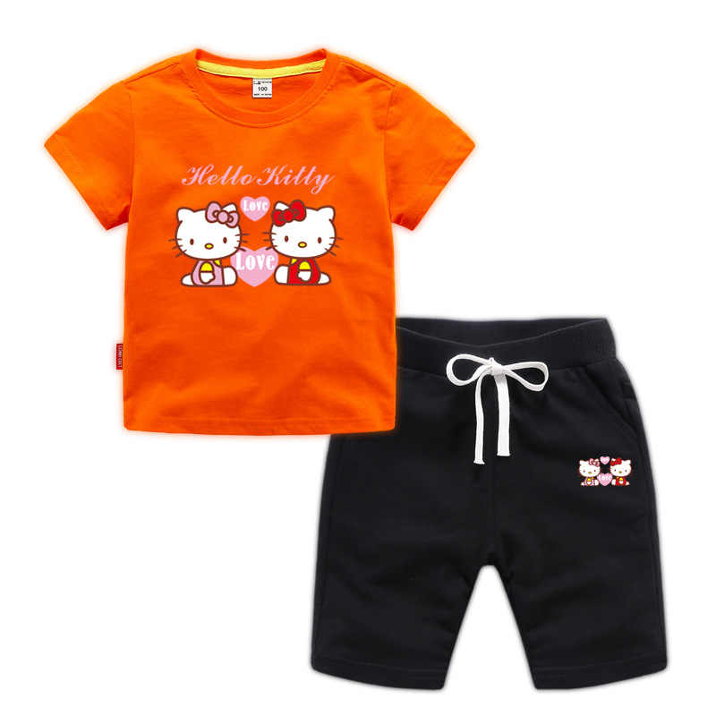 39d2112f6 ... 2019 children's girls clothing suit summer hello kitty cute shirt +  pants two-piece clothing ...