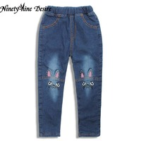 Cute Cartoon Pattern Kids Jeans Winter Autumn Lovely Cat High Quality Children Pants Casual Trouses Baby