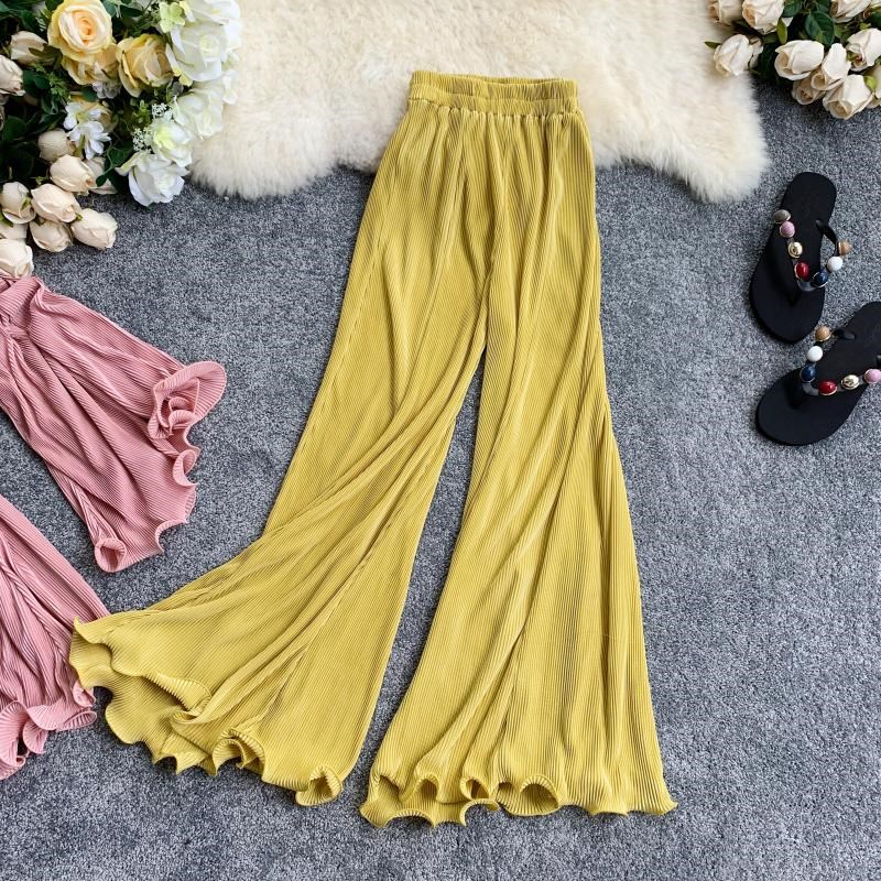 Summer Retro   Wide     Leg     Pants   Women Elastic Waist Solid Casual Loose   Pants   Female Trousers High Waist Flare   Pants