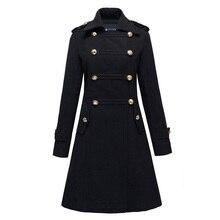Модное женское двубортное длинное шерстяное пальто в стиле милитари с воротником-стойкой размера плюс 2XL