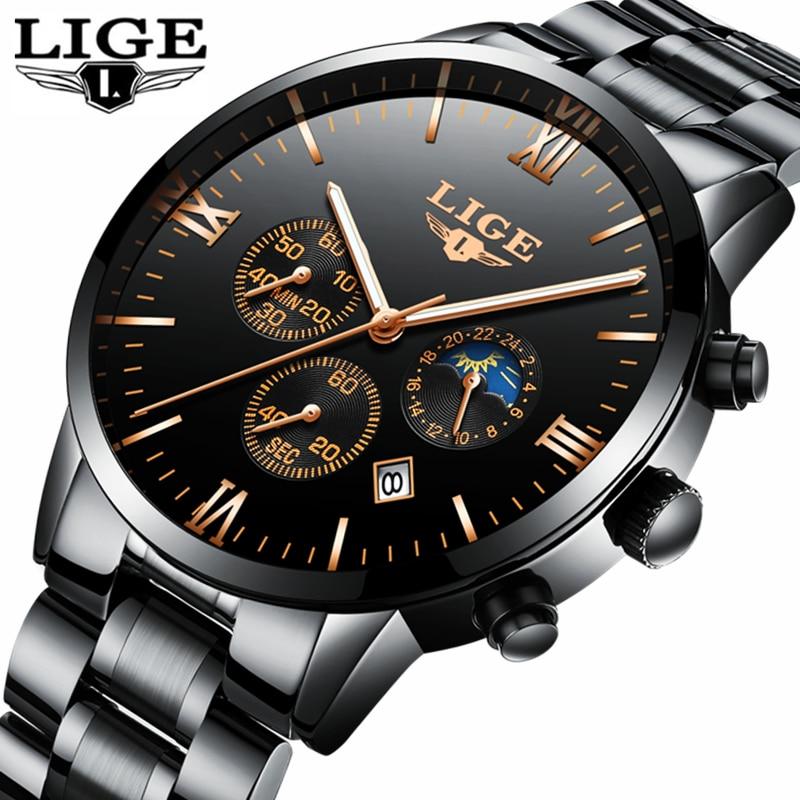LIGE reloj hombres moda deportes reloj de cuarzo relojes para hombre Top marca de lujo de acero completo impermeable de negocios reloj Relogio Masculino