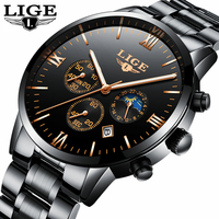 LIGE Watch Men Fashion Sports Quartz Clock Mens Watches Top Brand Luxury Full Steel Business Waterproof