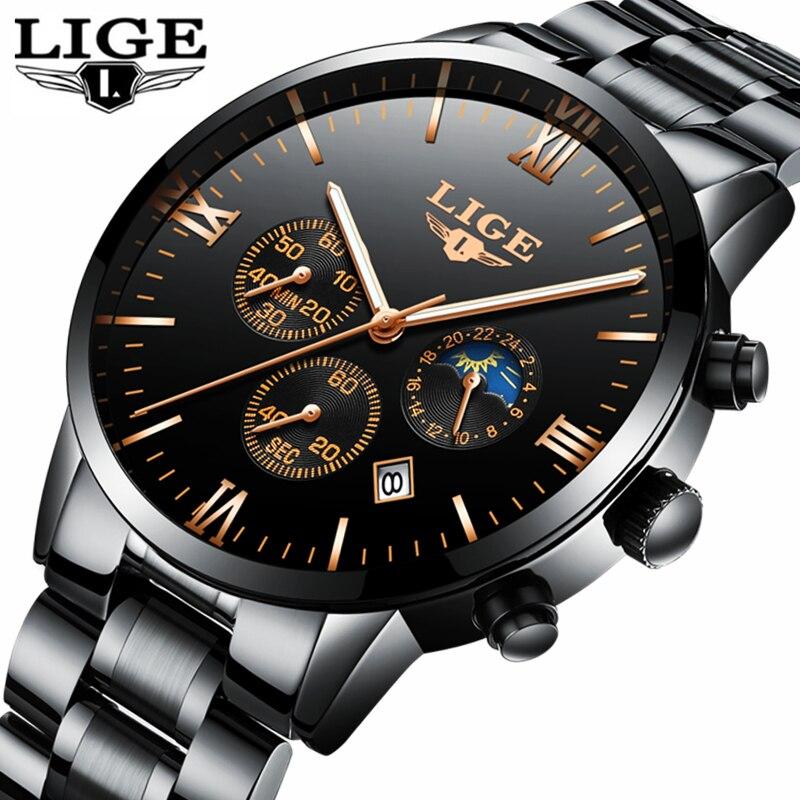 Lige reloj hombres moda deportes reloj de cuarzo mens relojes Top marca de lujo de acero completo impermeable de negocios reloj Relogio Masculino