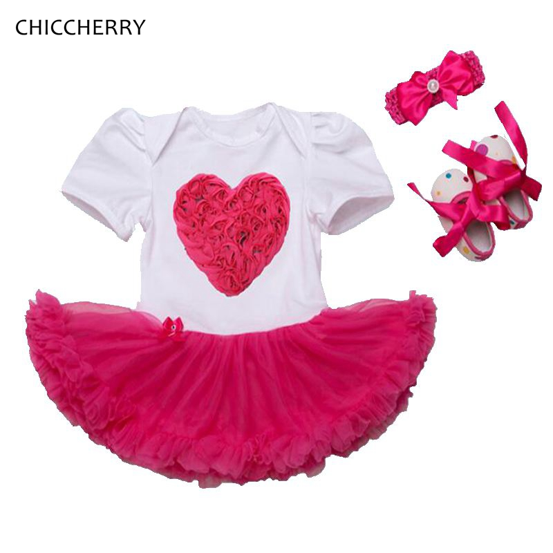 Hot Pink 3D Love Lace Infant Wedding Dress Headband Crib Shoes Newborn Tutu Sets Baby Girl Party Clothes Toddler Clothing Outfit