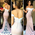 Mermaid Evening Dresses 2016 Robe de soiree Sexy Off the Shoulder See Through Sleeveless Appliques Party Princess Prom Dresses