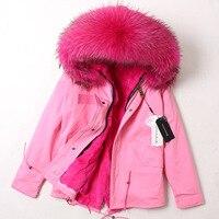 Women Winter Coat Fur Parka Real Rex Rabbit Fur Inner Military Uniform Overcomes Raccoon Fur Collar Female Plus Size Clothing