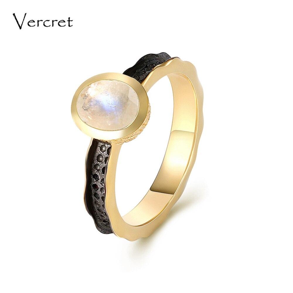 Vercret élégant arc-en-ciel pierre de lune anneaux à la main 925 en argent sterling 18k bague en or bijoux fins pour les femmes cadeaux