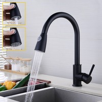 Matte Black Single Handle Pull Down Kitchen Faucet Stainless steel kitchen mixer tap with Two functions ABS plastic Spray Head