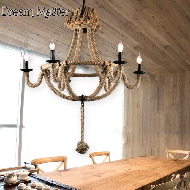 creative vintage lustre corde am ricain pays bougie lampes et lanternes salle manger caf. Black Bedroom Furniture Sets. Home Design Ideas