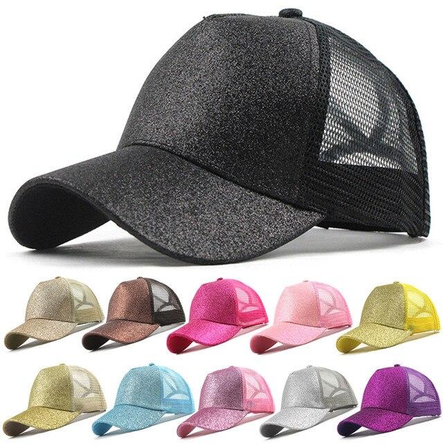 2019 nueva gorra de béisbol de cola de caballo con purpurina, sombrero de cola de caballo, sombreros de malla de verano para mujeres y niñas