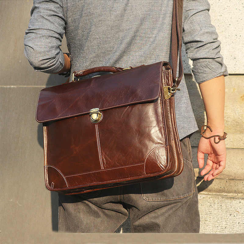 "Men's genuine leather briefcase 15"" glossy double layer laptop shoulder bag Cow leather business bag real leather work tote"