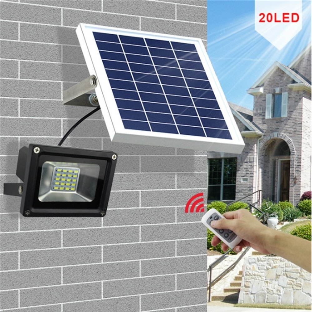 Dimmable Outdoor Patio Lights: 10W 20 LEDs Outdoor Waterproof Dimmable Solar Flood Light