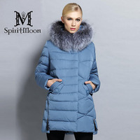 SpiritMoon 2017 New Winter Women Bio Down Jacket Hooded Thick Coat Winter Parka With Natural Silver Fox Collar Plus Size 5XL 6XL