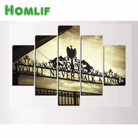 HOMLIF 5D Diamond Painting You Will Never Walk Alone inspiring 5/pc wall art Painting home decor Full Square Drill Wall Sticker