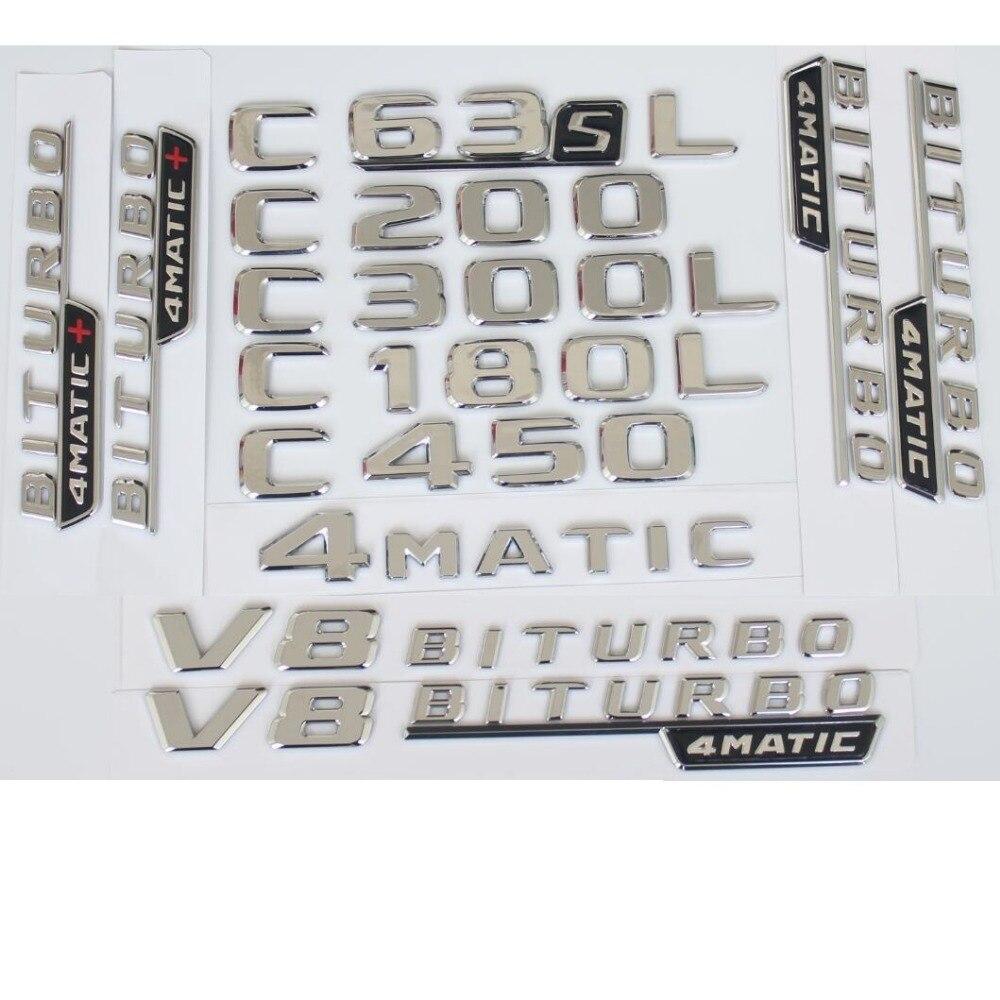 Für Mercedes Benz 2017 2018 C43 C63 C63s AMG C200 C220 C300 C320 C350 C400 4 MATIC Stamm Chrom Flat buchstaben Embleme Abzeichen Emblem
