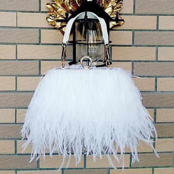 Bags Handbags Women Famous Brands Ostrich Feather Clutch Luxury Designer Chain Evening Party Bag
