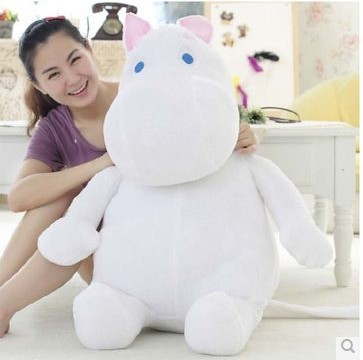 large size 100cm cartoon moomin hippo plush toy soft throw pillow birthday gift w5348 huge lovely white creative hippo toy plush doll cartoon moomin hippo doll pillow birthday gift toy about 100cm