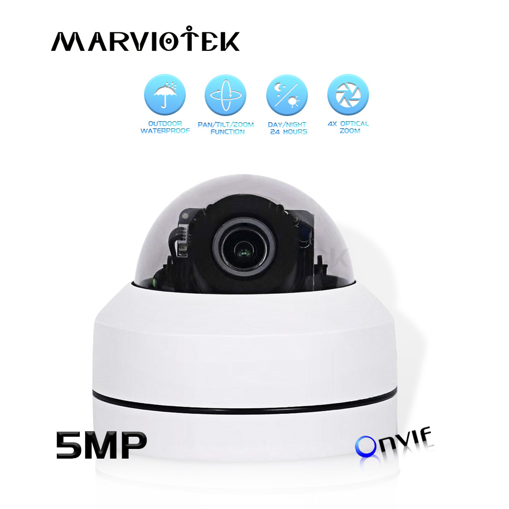 5MP Mini PTZ IP Camera Outdoor Waterproof 1080P HD Speed Dome Cameras PTZ 4x Motorized Zoom Home Security Cameras Night Vision