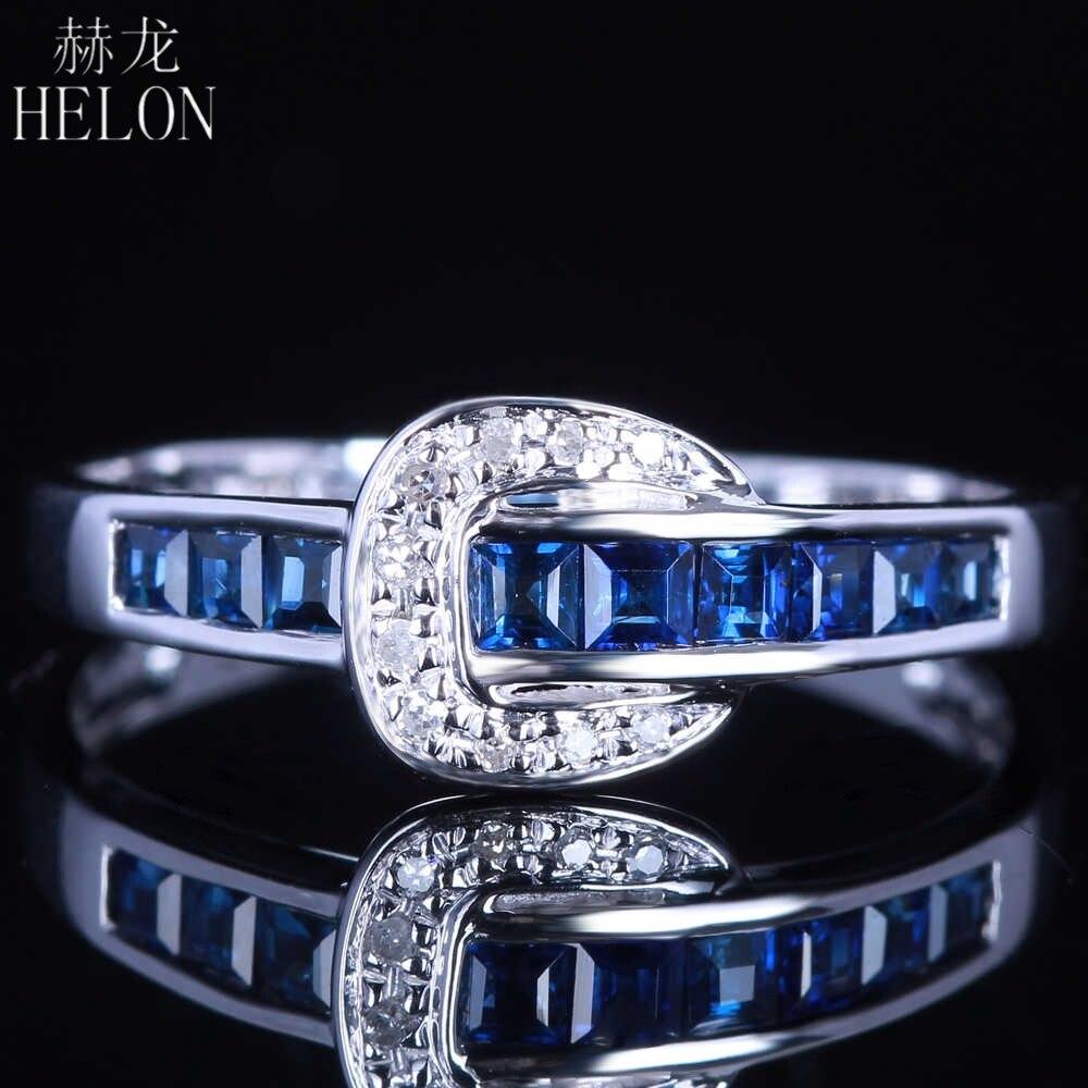 Helon SOLID 14 К белого золота натуральным бриллиантами и сапфирами Обручение обручальное кольцо элегантный Для женщин Fine Jewelry Кольцо