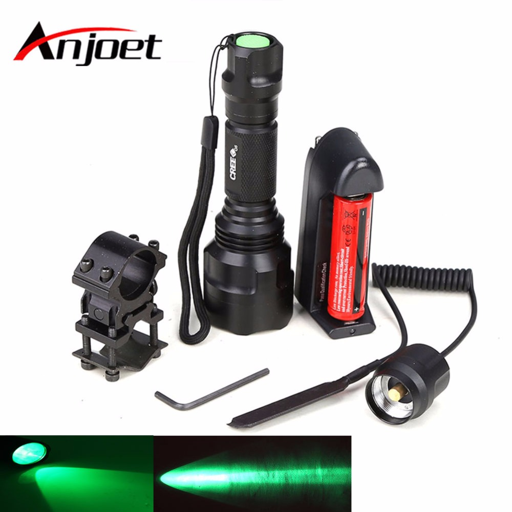 Anjoet Flashlight Hunting Torch Flash Light Green Spotlight Q5 LED ON/OFF Mode With Gun Clip Remote Pressure Switch 18650 Charge