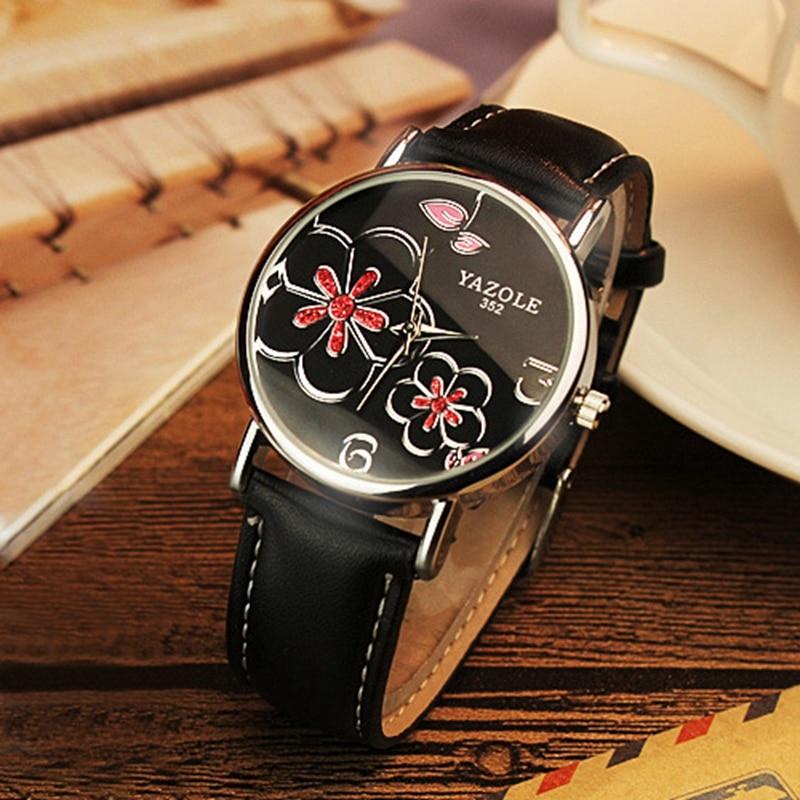 купить YAZOLE Top Brand Watch Women Bracelet Pink Red Yellow Rhinestone Flower Dial Leather Fashion Lady Dress Watches relogio feminino по цене 376.03 рублей