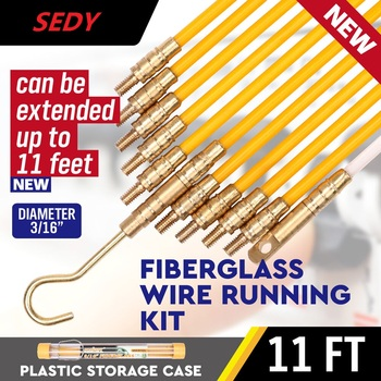 SEDY Fiberglass Wire Cable Running Rods Fish Pulling Wire Holder Kit Electrical Wires With Hooks 3/16  x 11' Electrical Cord