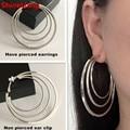 Ear clip Wholesale No pierced large circle earrings for women jewelry luxury fashion temperament DJ nightclub circle girl female